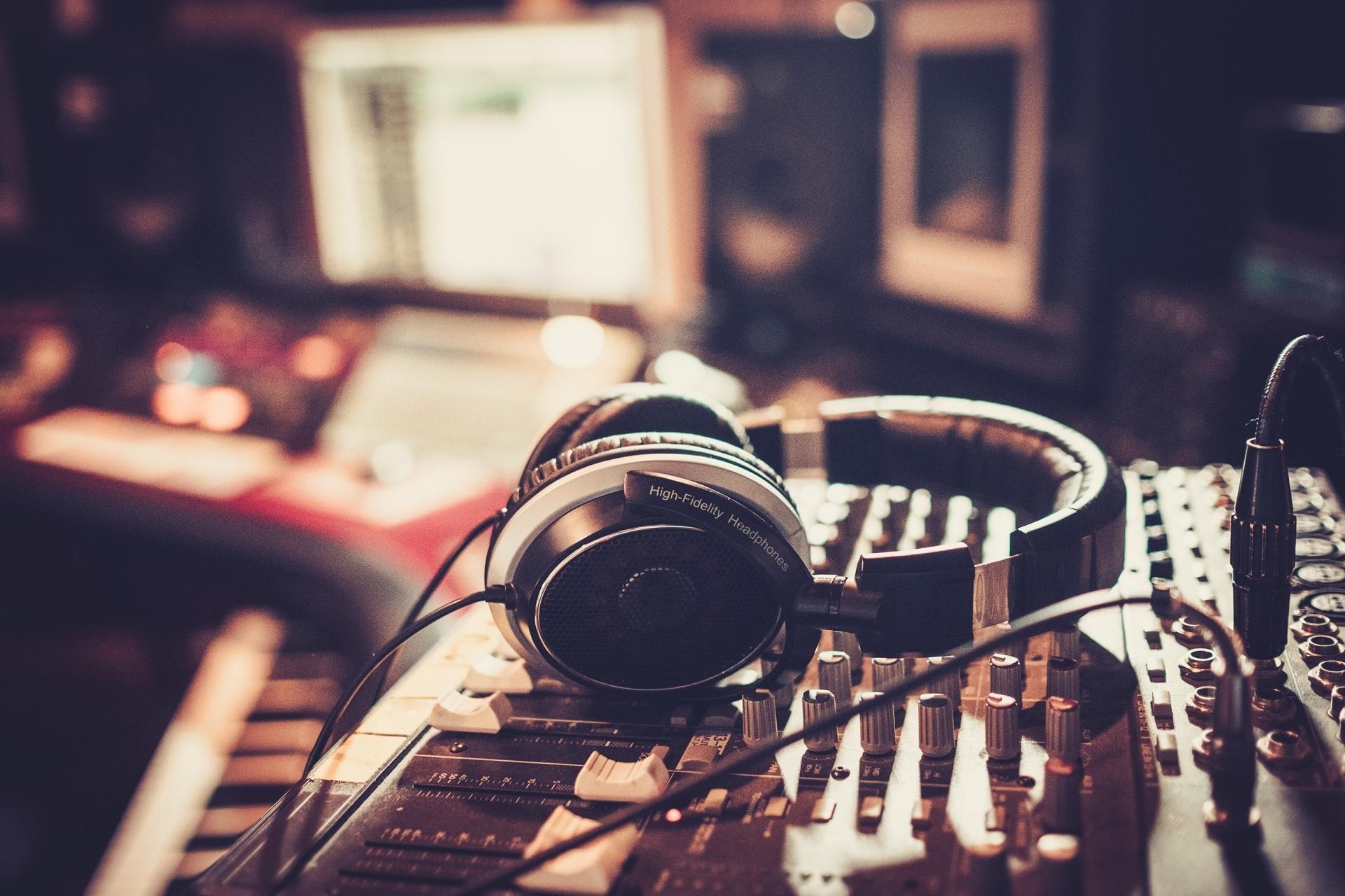 Soundboard with headphones on it