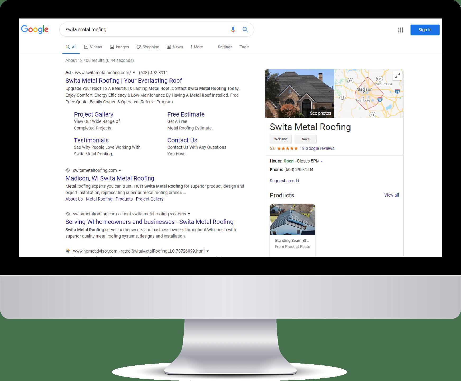 Swita Metal Roofing Google search results on desktop