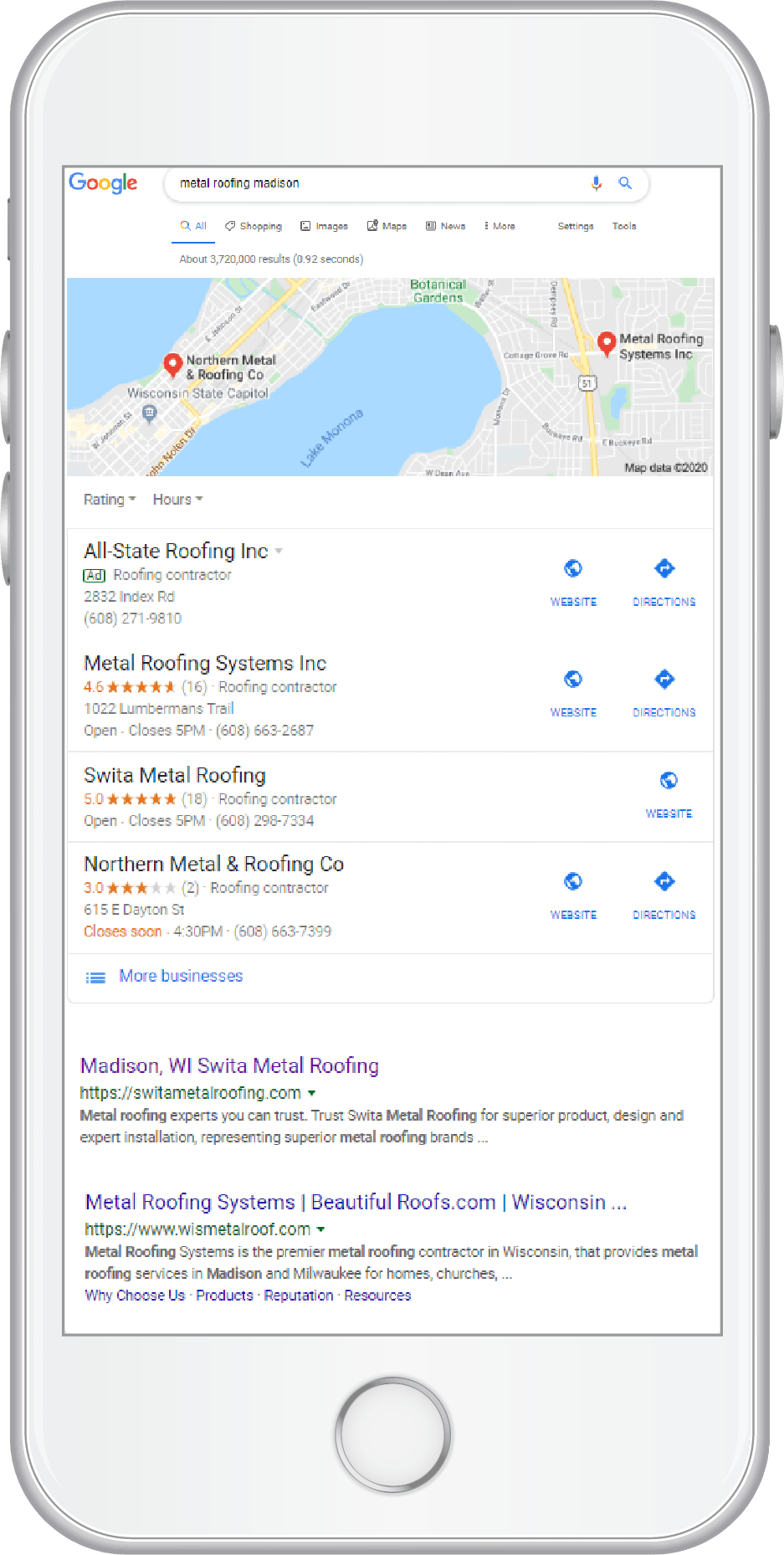 Swita Metal Roofing organic search results on phone